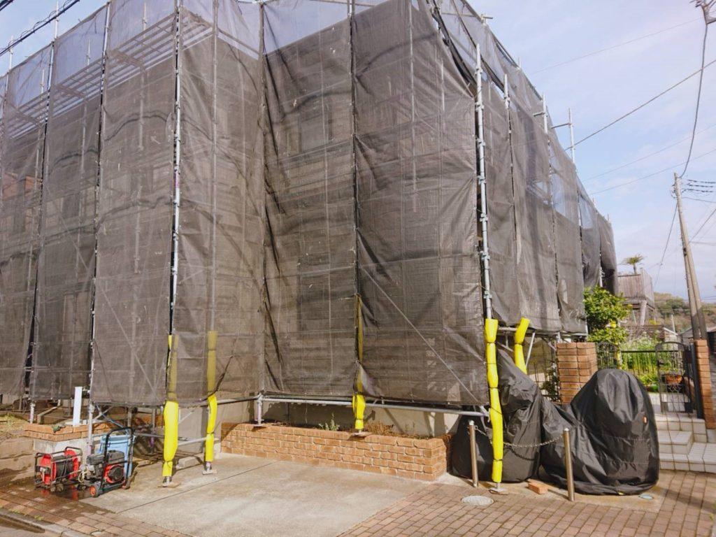 大磯町で外壁塗装工事着工しました。